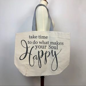 Handbags - New Large Canvas Tote With Quote